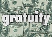 Gratuity Word Money Cash Background Paying Bill Extra Tips Thank