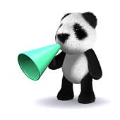 3d Panda bear with megaphone