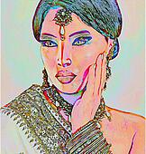 Abstract Asian or Indian Woman