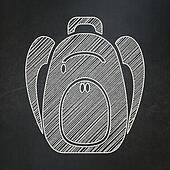Learning concept: Backpack on chalkboard background