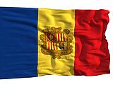 Flag of Andorra, fluttering in the wind