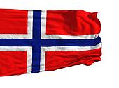 Norwegian flag, fluttering in the wind