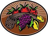 grapes ,apple ,lemon ,wheat bundle
