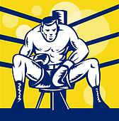 Boxer sitting on stool front