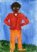 Child's drawing black boy in a red jacket and orange pants.