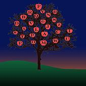 alphabet learning tree illustration