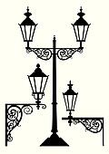 Set of antique street light lamps