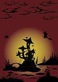 Halloween landscape with Castle - mushroom