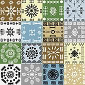 Tribal motifs background in squares