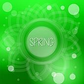 spring in flower over green background with white dots