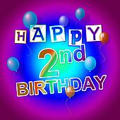 Happy Birthday Represents Celebrate 2Nd And 2