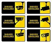 Warning set stickers yellow