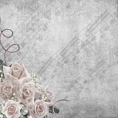 Wedding Day background  with roses and notes