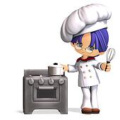 cute and funny cartoon cook. 3D rendering with clipping path and shadow over white