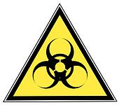 biohazard warning on yellow triangle sign