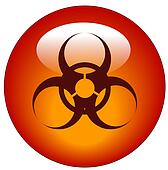 red biohazard logo on red button or icon