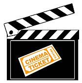 movie or film clapboard with cinema ticket