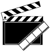 movie film strip and clapboard
