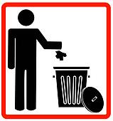 throwing garbage into a trash can