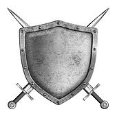 medieval metal knight shield with crossed swords isolated on white