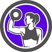 Woman Lifting Dumbbell Weight Physical Fitness Retro