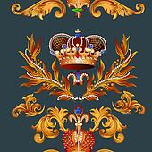 Heraldic seamless wallpaper pattern with fleur de lis and crowns