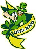 Irish rugby player running with ball