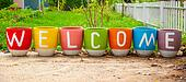 Welcome on flowers pot