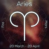 Zodiac sign - Aries. White line astrological symbol with caption