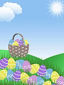 easter eggs and basket background