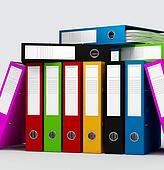 colored ring binders on white background -digital artwork