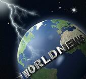 world-news globe  and lighting