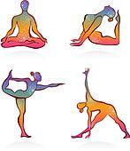 Colorful yoga postures