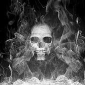 Human skull with smoke
