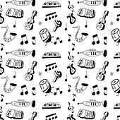 doodle musical instrument pattern