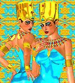 Egyptian women, twins