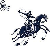 man riding horse design
