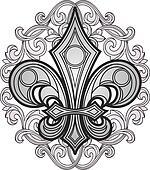 shield symbol with swirl ornament