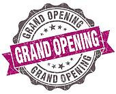 Grand opening violet grunge retro vintage isolated seal