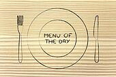 fork and knife, restaurant themed design: menu of the day