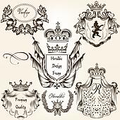 Collection of vector heraldic frames shields and coat of arms