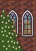 old brick church with christmastree