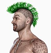 Young man  with a punk hair style a