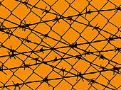 Orange yellow barbed wire fence