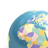 detail of political globe