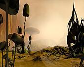 Alien misty desert landscape