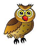 cartoon owl isolated over white background