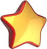 Star shape golden with red border