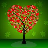 Tree Hearts Indicates Valentine's Day And Forest