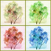 Water colour, trees